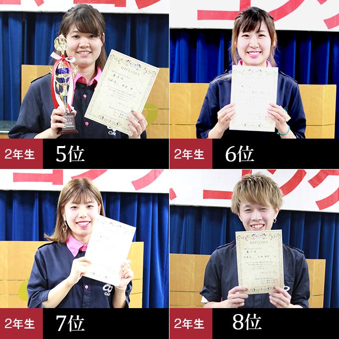 第7位 酒匂瑠唯さん、第8位 牧愛さん、第9位 石川由希子さん、第10位 森永弘朔くん、